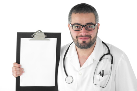 Male doctor holding a clipboard isolated photo