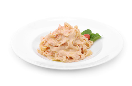 alfredo: Pasta plate isolated on white Stock Photo