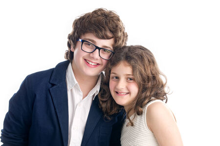 brothers and sisters: Brother and Sister shot on white background   Stock Photo