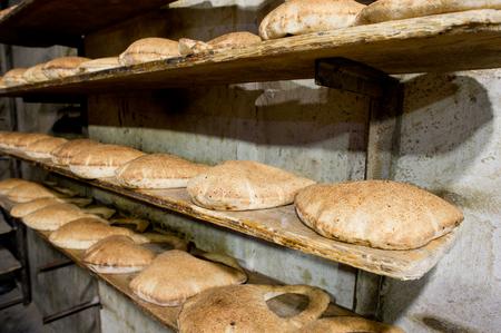 turkish bread: Stack of Arabic Bread Bagel in a bakery