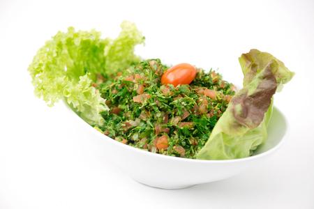 tabbouleh: Plate of traditional Arabic salad tabbouleh.