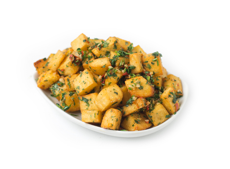 cubed: Spicy potato cut in cubes and fried, lebanese cuisine Stock Photo