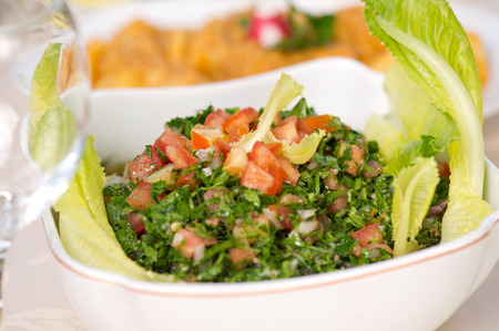 Plate of traditional Arabic salad tabbouleh.