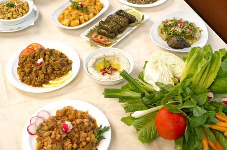 arabic food: Table with various arabic food served