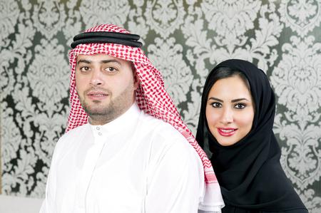 arab people: Arabian couple posing Stock Photo