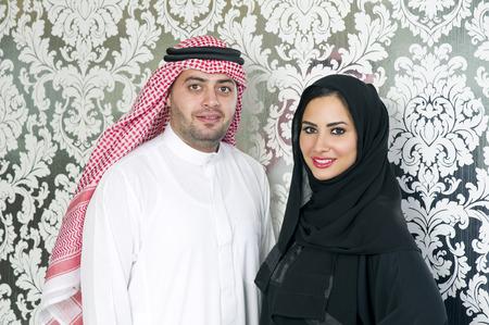 arabic man: Arabian couple posing Stock Photo