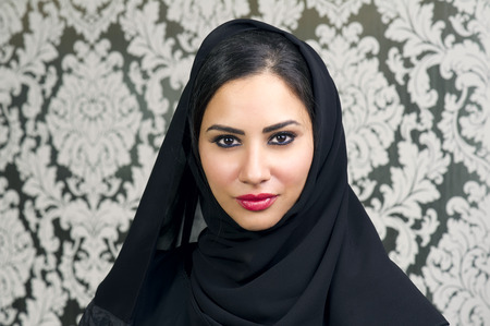 Portrait of a Beautiful Arabian Woman smiling Stock Photo