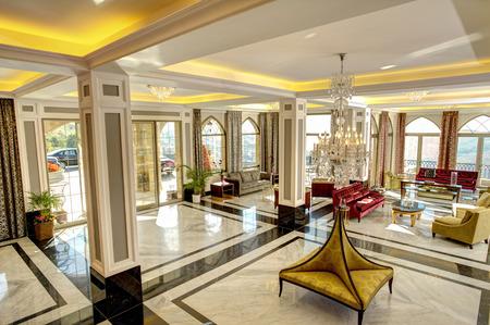Luxe lobby voor vijf sterren hotel Stockfoto
