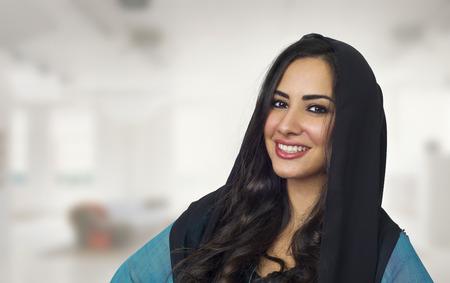 Arabian woman wearing Abaya, Stylish arabian woman wearing hijab