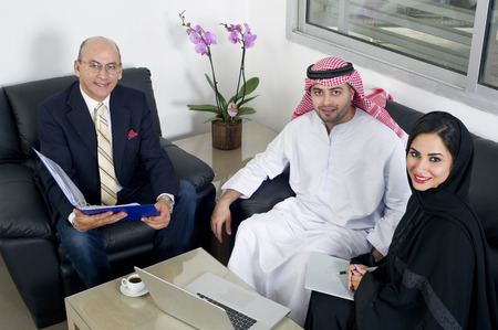 Business Meeting in office, Arabian business people meeting with Foreigners in office photo