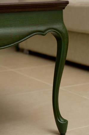 Close-up of a luxurious table , vintage solid wood furniture detail Stock Photo