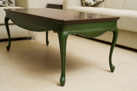 furniture detail: Close-up of a luxurious table , vintage solid wood furniture detail Stock Photo