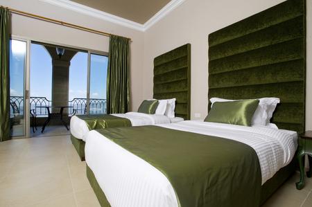 hotel balcony: Luxurious hotel bedroom with balcony, 5 stars luxury hotel bedroom