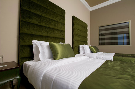 luxury hotel room: 5 stars luxury hotel room, luxurious bedroom in a hotel Stock Photo