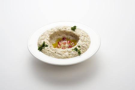 arabian food: Mtabbal, Lebanese food of cooked eggplant isolated on white