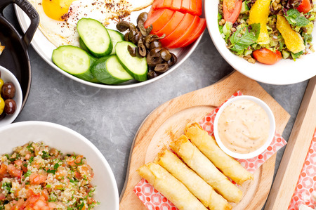lebanese: various lebanese plates  Mediterranean cuisine