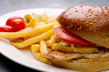 burger background: chicken burger plate with french fries and salad Stock Photo