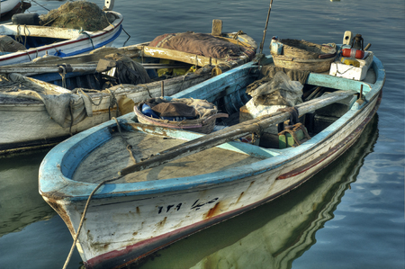 water transportation: Dramatic Scene of Fishing Boats in HDR