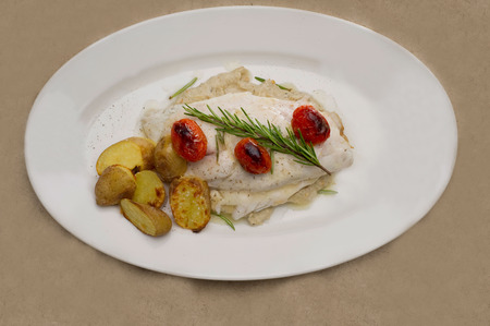 tartar: Fish dish - fish fillet in sauce and vegetables