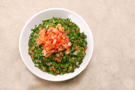 tabbouleh: Plate of traditional Arabic salad tabbouleh