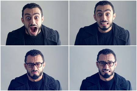 Young Man Expressing different Emotions photo