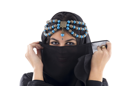 bollywood woman: Arabian Girl wearing Traditional Headscarf, Beautiful tribal woman wrapped in scarf Stock Photo