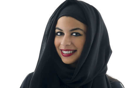 Portrait of a beautiful Arabian Woman wearing Hijab, Muslim Woman wearing Hijab Stock Photo