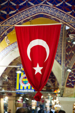 bazar: Turkish Flag in Grand Bazar, Istanbul, Turkey flag,