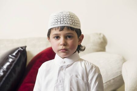 middle eastern clothing: Young Arabian Kid at home