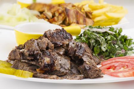 comida arabe: Shawarma Plate, Shawarma carne plato de pollo