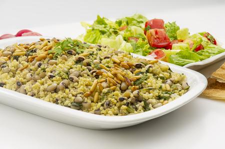 black eye: Black Eye Peas with Chard , Lebanese food of Loubieh Msallat with Silik Stock Photo