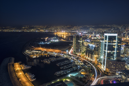 high view: Aerial night shot of Beirut Lebanon , City of Beirut, Beirut city scape