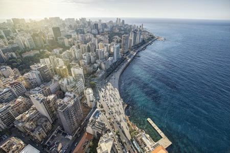 空中ビューのベイルート レバノン、ベイルートの街ベイルート都市景観 写真素材