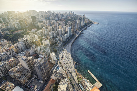 Aerial View of Beirut Lebanon, City of Beirut, Beirut city scape  Foto de archivo