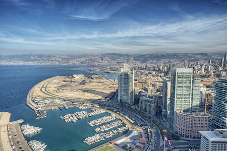 Aerial View of Beirut Lebanon, City of Beirut, Beirut city scape  Imagens