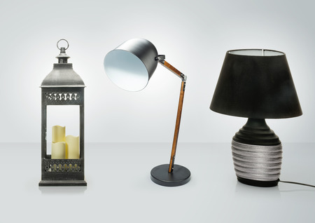 Set of different table lamps . Decorative Desk lamps isolated on white background , Clipping path included