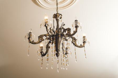 Bronze chandelier with crystals