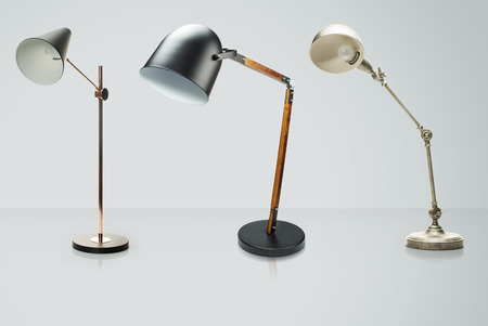 Set of  desk lamps isolated on white, Clipping Path included,