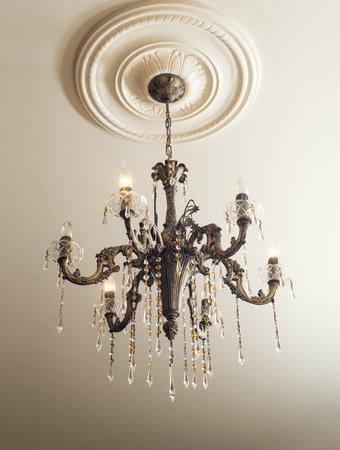 electric fixture: Bronze chandelier with crystals