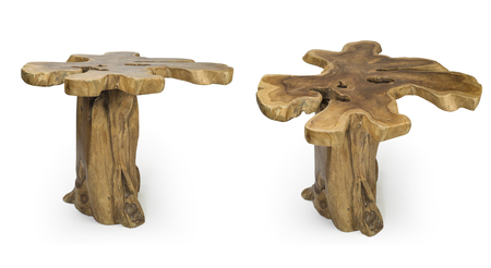 Tree Trunk Table isolated on white clipping path included, Set of Two trunk table shot from two angles isolated on white
