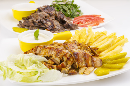 Shoarma Plate, shoarma rundvlees en kip plaat