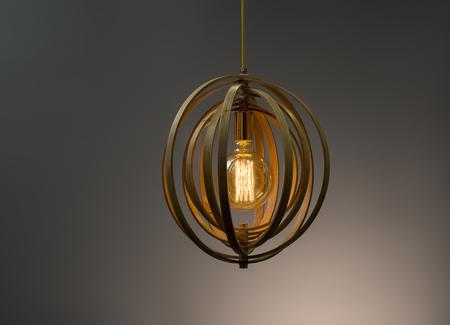 lamp shade: Wooden Pendant light lamp illuminated, Elegant Chandelier illuminated Stock Photo