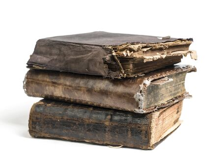 ancient books isolated on white background
