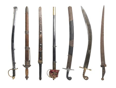 Collection of Vintage Swords isolated on white