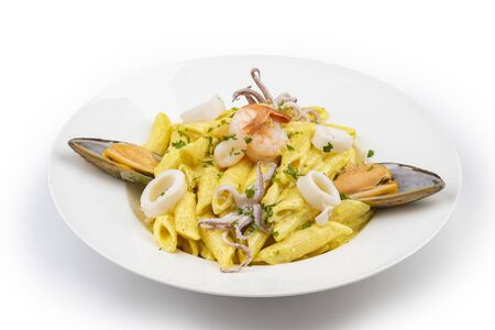 dish of italian pasta with seafoods and bottarga, mediterranean food Stock fotó
