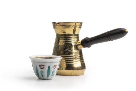 Traditional Arabic Coffee Mug and Coffee , Turkish Coffee isolated on white