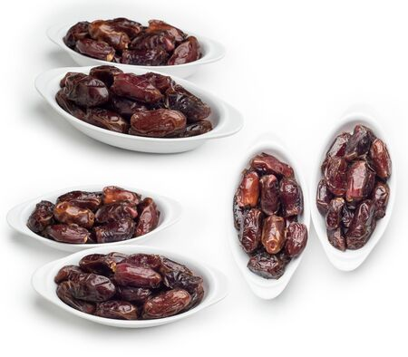 Bowl of dates isolated on white background, Set of Dates fruit shot in different angles