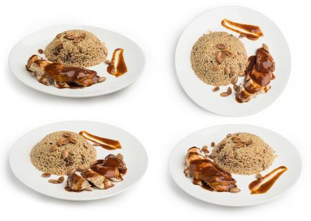 Set of Oriental Rice and meat isolated on white background