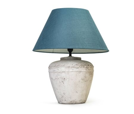 Rustic table lamp isolated on white background