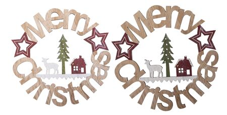 Merry Christmas spelled out in wooden shape isolated on white background, Clipping path included Stock fotó